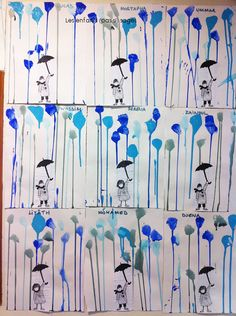 Cover a rectangle before painting.  Then take photos & cut out; teach them how to draw the umbrella.