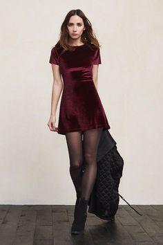 Red velvet dress.