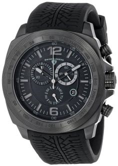 "Swiss Legend Men's ""Sprinter"" Black Ion-Plated Stainless Steel and Black…"