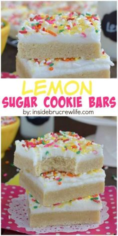 These easy lemon sugar cookie bars are baked and frosting in one pan saving you time in the kitchen.