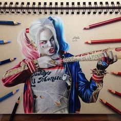 regram @theartlovers Great Harley Quinn drawing by @jeffrey_draws! Love it! | Tag your artwork with #theartlovers for a chance to be featured! Follow our fellow art sharing account @theartscloud!