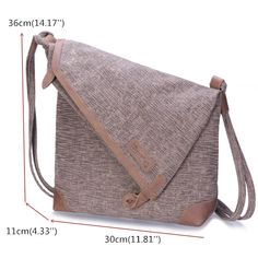 Sewing Bags Retro Hot-sale designer Brenice Retro Canvas Casual Genuine Leather Shoulder Bag Crossbody Bag For Women Online - NewChic Mobile Canvas Crossbody Bag, Crossbody Shoulder Bag, Leather Shoulder Bag, Vintage Messenger Bag, Diy Fashion, Latest Fashion, Fashion Trends, Love Sewing, Cute Bags