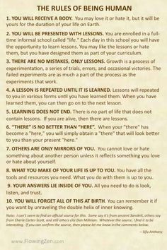 The Rules of Being Human: These are great rules!