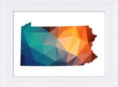 Pennsylvania Map Printable File, Pennsylvania Map Geometric Silhouette in Green Blue Orange Colors.  **This listing is for a downloadable digital