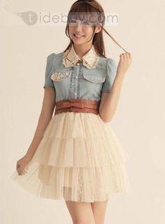 Temperament Split Joint Short Sleeve Yarn Dress : Tidebuy.com