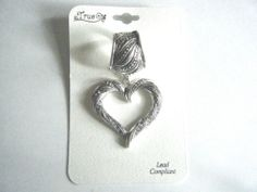 Scarf Ring Embossed Heart Pendant Silver Tone With Clear Stones New With Tag