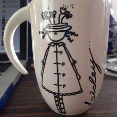 Caneca personalizada, feita à mão por Ana Cris Willerding #detalhando