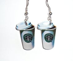 Starbucks Coffee Earrings - Coffee Cup. $7,00, via Etsy.