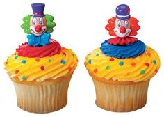 Clown Cupcake Picks Circus Cake Toppers Decorations Party Favors Supplies 24 | eBay