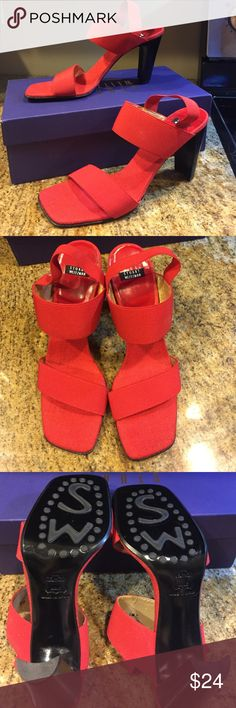 STUART WEITZMA Red Sandals NWOT Red elastic Stuart Weitzman sandals.  These have never been worn but the inside of the front straps is peeling (pic 4).  3.5 inch heel, with box. Stuart Weitzman Shoes Heels