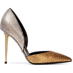 Tom Ford D'Orsay two-tone metallic python pumps (23.760 ARS) ❤ liked on Polyvore featuring shoes, pumps, heels, sapato, tom ford, gold, tom ford pumps, metallic gold shoes, evening pumps and gold heel pumps