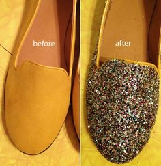 glitter shoe how-to