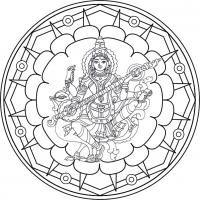Mandala Sarasvati. Para imprimir, colorear, pintar.