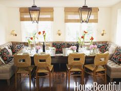 """""""A deep banquette in a dining area is dressier and more relaxed than just chairs,"""" says designer Peter Dunham."""
