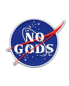 No gods, no masters. A take on the classic NASA logo, looking to our place in the stars for answers and not a deity. Embroidered patch on twill Custom, die-cut edge Iron-on backing Made in the USA Measurements: X By Mean Folk Cool Patches, Pin And Patches, Iron On Patches, Punk Patches, Jacket Patches, Atheist Symbol, Candle In The Dark, Battle Jacket, Patch Design