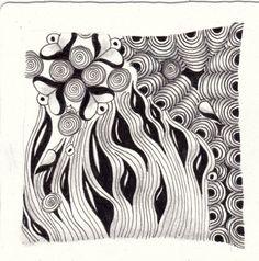 Ein Zentangle aus den Mustern Si Weed, Crescent Moon, Hearts and Flowers,  gezeichnet von Ela Rieger, CZT