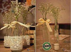 decoração de chá de panela com garrafas