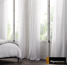 10 metre Wide  Beautiful Sheer White voile Curtain -Rod pocket top 270 Drop