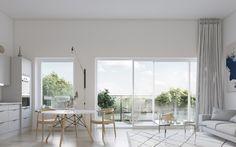 Takvåning med stora fönsterpartier och generösa terrasser i Riksbyggens Brf Vingården, Beckomberga, Bromma.