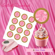 """Chanel Cupcake Toppers,Chanel Gift tags,Chanel Instant Download,Chanel Party Favor, Printable Labels, 2""""inch"""