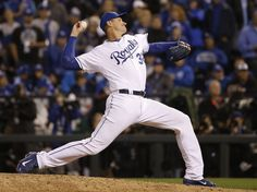 Kansas City Royals pitcher Chris Young throws during the 12th inning of Game 1 of the World Series against the New York Mets, Tuesday, Oct. 27, 2015, in Kansas City, Mo. (AP Photo/Matt Slocum)