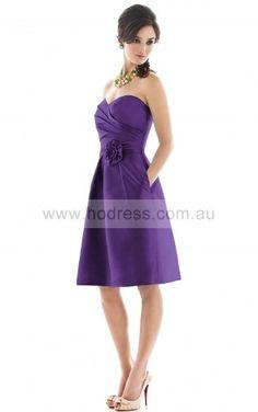 Sleeveless Zipper Sweetheart Knee-length Satin Formal Dresses b140451