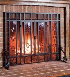 "44""W x 33""H Beveled Glass Diamond Fireplace Screen With Powder-Coated Tubular Steel Frame and Tool Set"
