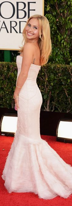 Hayden Panettiere's white strapless sweetheart gown that she wore to the 2013 Golden Globes