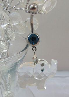 Elephant belly ring, bellybutton ring w Swarovski crystal elephant 14ga | YOUniqueDZigns - Jewelry on ArtFire
