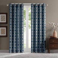 blue green geometric curtains