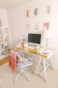 #office, #white, #home-tour  Photography: Ruth Eileen Photography - rutheileenphotography.com pretty space, check out the golden surface with the clean and feminine colors