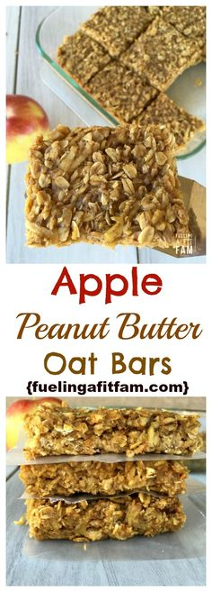 These apple peanut butter bars are healthy, easy and loved by all! These apple peanut butter bars are healthy, easy and loved by all! Peanut Butter Oat Bars, Peanut Butter Snacks, Apple And Peanut Butter, Healthy Bars, Healthy Sweets, Healthy Apple Desserts, Healthy Apple Muffins, Apple Recipes Healthy Clean Eating, Healthy Protein