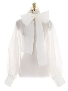 Organza tops have come to stay. When looking for the most trendy organza tops to buy, buyandslay is your best bet. We have stylish organza tops waiting for your purchase. Business Professional Outfits, Business Casual Attire, Business Outfits, Bow Blouse, Sheer Fabrics, Blouse Designs, Fashion Dresses, Dresses For Work, Clothes For Women