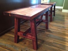 """Bench made from reclaimed wood. 3' long 21"""" high built for a kitchen island."""