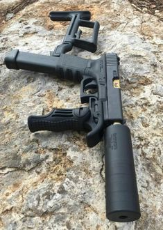Stupid weapon post for the day. Need a stock and forward grip? Get a carbine instead of turning you pistol into this crap. Unless that a Glock Weapons Guns, Guns And Ammo, Zombie Weapons, Custom Guns, Custom Glock 43, Fire Powers, Cool Guns, Tactical Gear, Tactical Pistol
