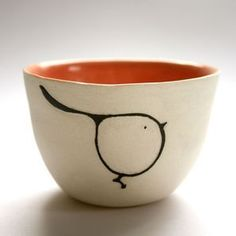 Love this #bird #bowl in #ceramic and #orange,, http://dtll.com.au/kanimbla-clay/product/7157-bird-sugar-bowl