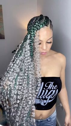 Faux Locs Hairstyles, Protective Hairstyles, Hairstyles With Bangs, Cornrow Ponytail, Kanekalon Braiding Hair, Natural Hair Tutorials, Natural Hair Styles, Lemonade Braids Hairstyles, Creative Hair Color