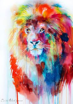 Lion Watercolor Painting by SlaviART