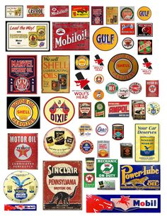1:24 VINTAGE OIL GAS SIGN LARGE DECALS FOR DIECAST & OTHER DIORAMAS