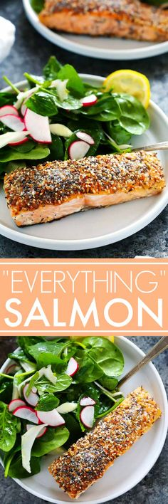 "This ""Everything"" Crusted Salmon coats salmon filets in a seasoning combined of all the ingredients you would find on an ""everything"" bagel. The salmon filets are quick seared and then finished off in the oven for a delicious dinner that's ready in 20 minutes."