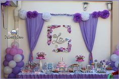 Wow! What a gorgeous purple Princess party! See more party ideas at CatchMyParty.com! #partyideas #princess