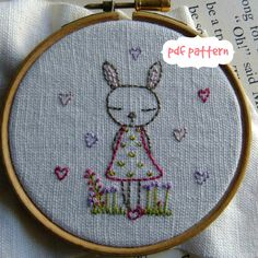 Bunny embroidery pattern pdf von LiliPopo auf Etsy