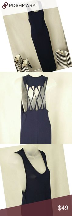 "Guess Maxi Dress Guess Maxi Dress Size: M Main Color: Navy Blue (solid) Material: 95% Modal 5% Spandex Aprrox.Length from shoulder to hem: 57"" Soft flowy knit material Side slits Round neck Cut-out back design Brand new with tags!  Pls comment below if you need further assistance?? Guess Dresses Maxi"