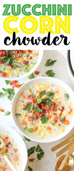 Zucchini Corn Chowder - Use up all that lingering zucchini for a filling, colorful and cozy soup you can make all year long, topped with crisp bacon bits!