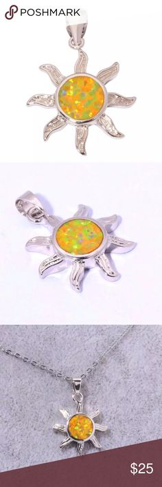 """New ☀️ Delicate Sun Fire opal Pendant ☀️ New Sun Yellow created fire opal and silver filled 925 Stamped. Super cute and delicate ☀️ Approx Measure 1 1/8"""" ☀️Thanks!! Jewelry Necklaces"""