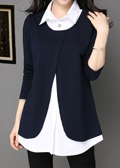 Turndown Collar Long Sleeve Faux Two Piece Blouse Round Neck Navy Blue Long Sleeve Blouse Trendy Tops For Women, Blouses For Women, Look Fashion, Fashion Outfits, Womens Fashion, Navy Blue Blouse, Black Blouse, Red Blouses, Shirt Blouses