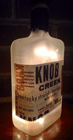 https://www.etsy.com/listing/217062084/knob-creek-kentucky-straight-bourbon see more at http://www.lightitupcreations.blogspot.com/?m=1 #bottle #knobcreek #bar #lighted #lamp #whiskey #bourbon