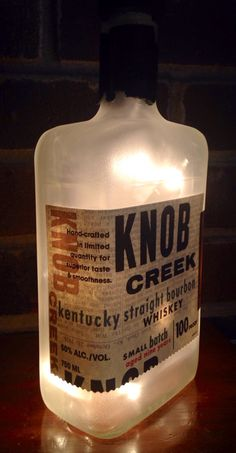https://www.etsy.com/listing/217062084/knob-creek-kentucky-straight-bourbon see more at http://www.lightitupcreations.blogspot.com/?m=1 #bottle #knobcreek #bar #lighted #lamp #whiskey #bourbon