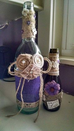 Wine bottle Decor by StaceysScrapsNSuch on Etsy