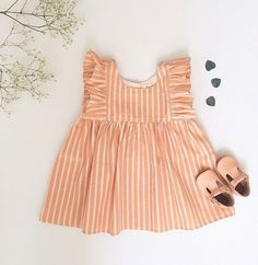 Pink stripes baby girl dress and shoes